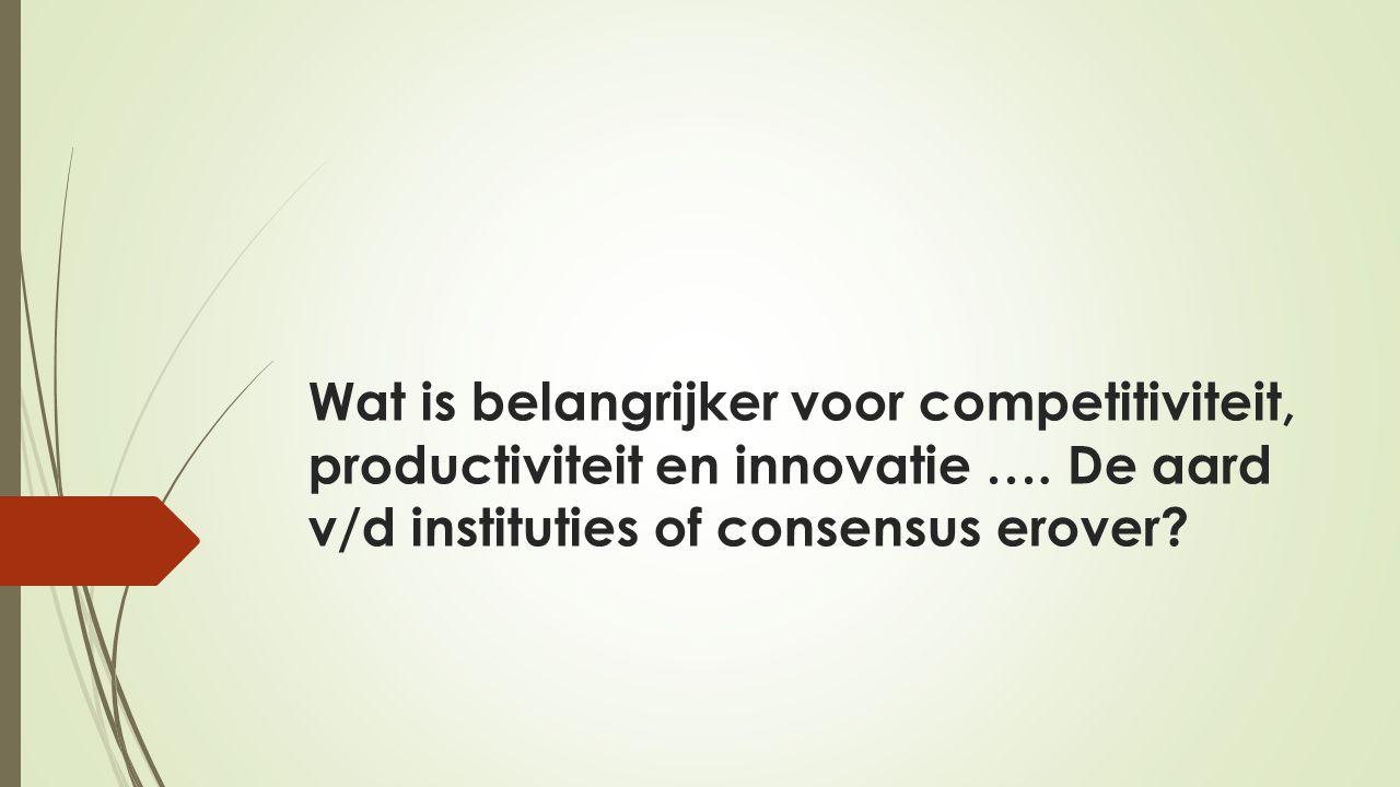 Wat is belangrijker voor competitiviteit, productiviteit en innovatie …. De aard v/d instituties of consensus erover?