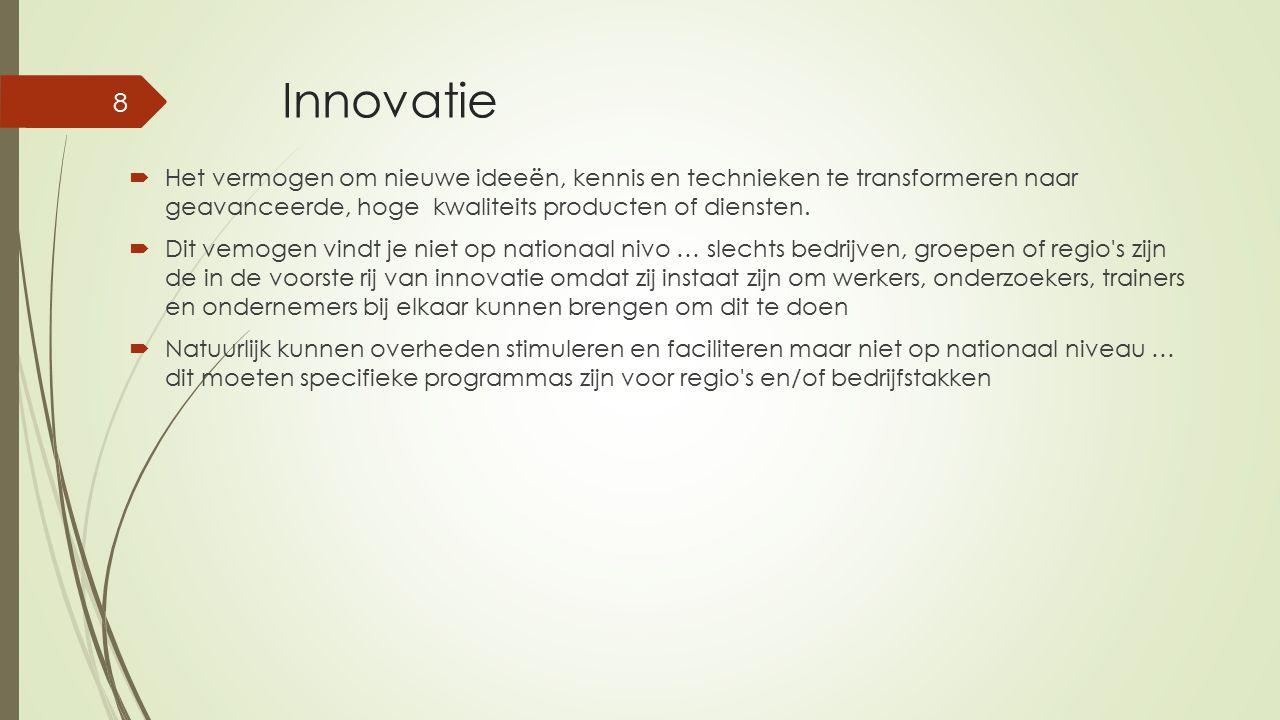 Innovatie  Het vermogen om nieuwe ideeën, kennis en technieken te transformeren naar geavanceerde, hoge kwaliteits producten of diensten.  Dit vemog