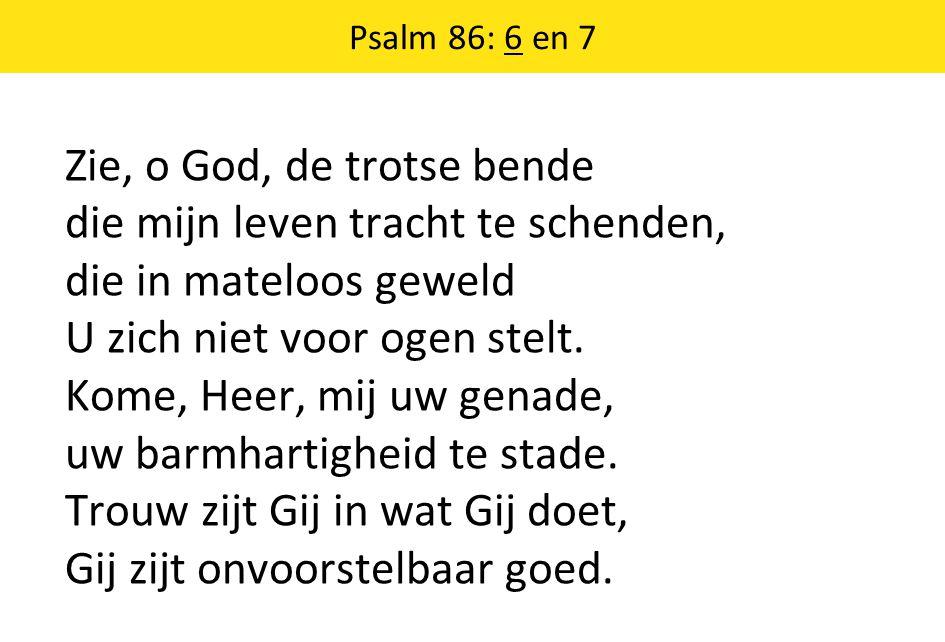 Psalm 86: 6 en 7 Zie, o God, de trotse bende die mijn leven tracht te schenden, die in mateloos geweld U zich niet voor ogen stelt.