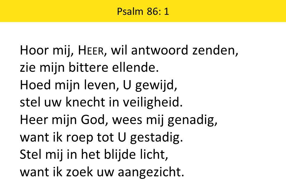 Psalm 86: 1 Hoor mij, H EER, wil antwoord zenden, zie mijn bittere ellende.