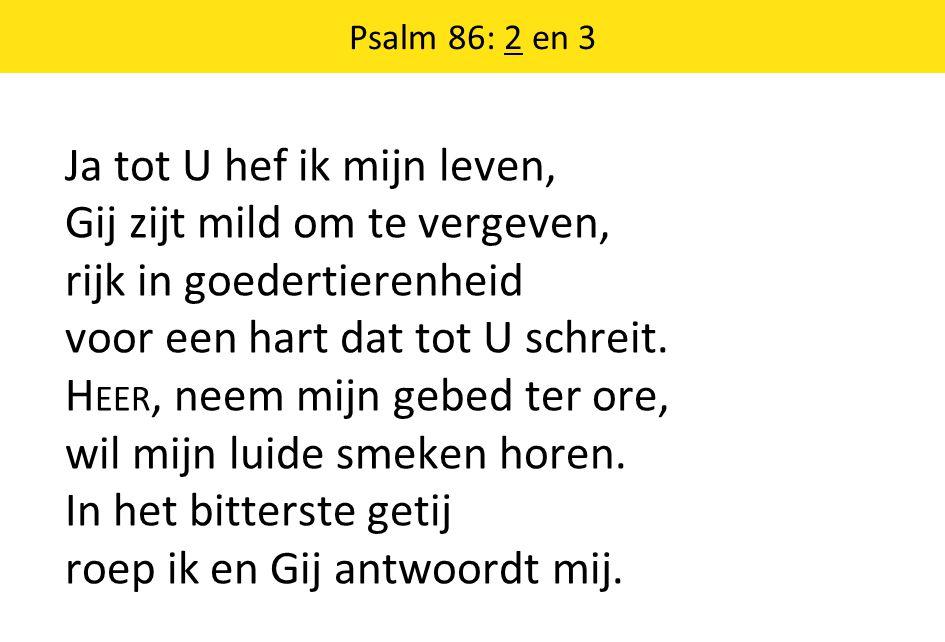 Psalm 86: 2 en 3 Ja tot U hef ik mijn leven, Gij zijt mild om te vergeven, rijk in goedertierenheid voor een hart dat tot U schreit.