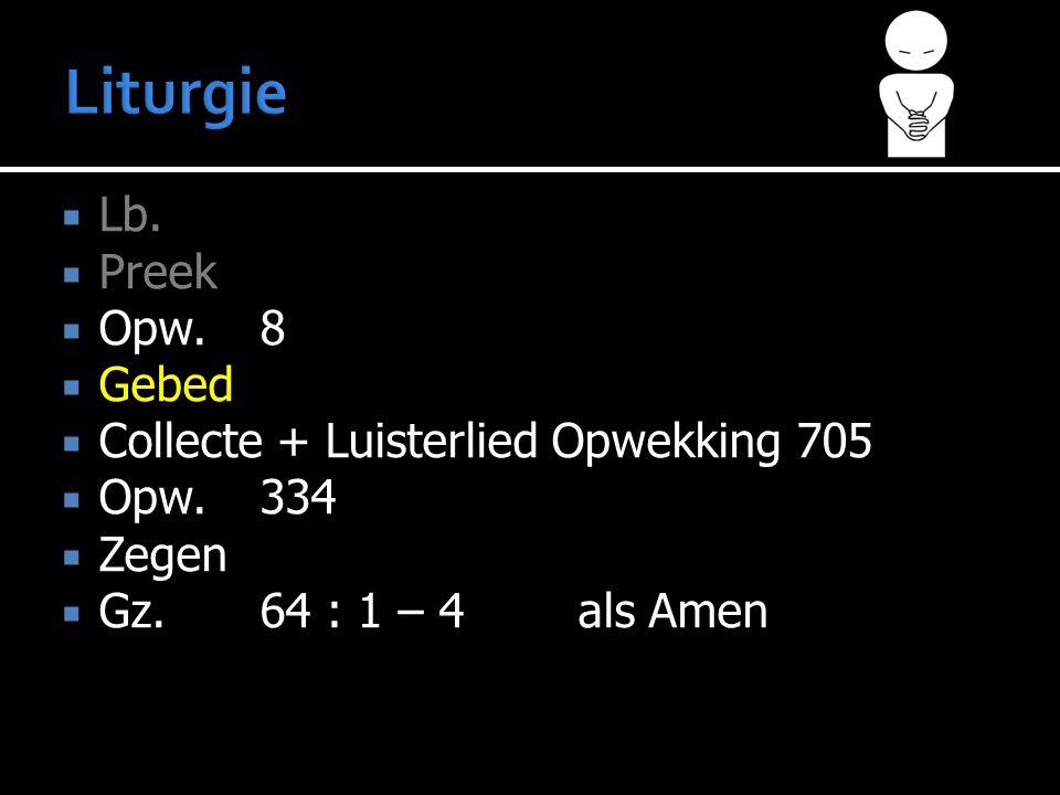  Lb.  Preek  Opw.8  Gebed  Collecte + Luisterlied Opwekking 705  Opw.334  Zegen  Gz. 64 : 1 – 4 als Amen