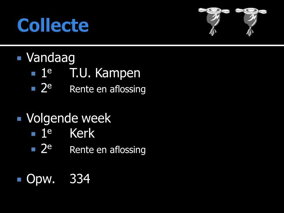  Vandaag  1 e T.U. Kampen  2 e Rente en aflossing  Volgende week  1 e Kerk  2 e Rente en aflossing  Opw.334