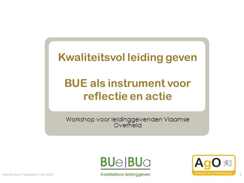 Key-Consult in opdracht van AGO 42 Mogelijke bespreekpunten: Bedank je medewerkers voor het invullen van de BUE Geef aan wat je geleerd hebt uit de BUE resultaten Zeg waaraan je wil werken (Behouden, Bannen, Bereiken) Vraag ondersteuning Nodig medewerkers uit om altijd feedback te geven (niet enkel bij BUE) Bedank je medewerkers voor het invullen van de BUE Geef aan wat je geleerd hebt uit de BUE resultaten Zeg waaraan je wil werken (Behouden, Bannen, Bereiken) Vraag ondersteuning Nodig medewerkers uit om altijd feedback te geven (niet enkel bij BUE)