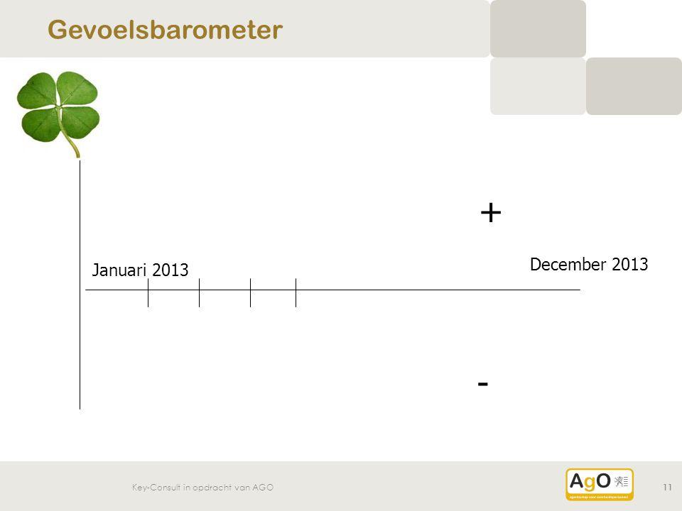 Key-Consult in opdracht van AGO11 Gevoelsbarometer Januari 2013 December 2013 + -