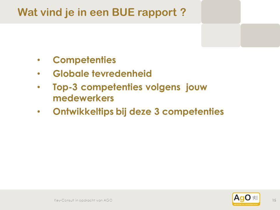 Key-Consult in opdracht van AGO15 Competenties Globale tevredenheid Top-3 competenties volgens jouw medewerkers Ontwikkeltips bij deze 3 competenties Wat vind je in een BUE rapport ?