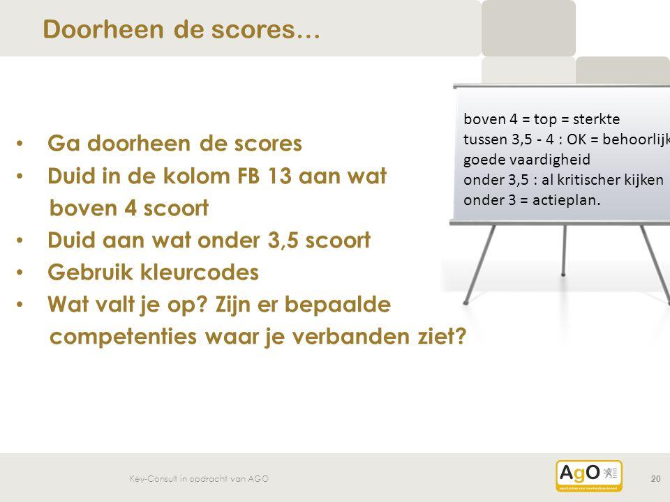 Key-Consult in opdracht van AGO20 Ga doorheen de scores Duid in de kolom FB 13 aan wat boven 4 scoort Duid aan wat onder 3,5 scoort Gebruik kleurcodes Wat valt je op.