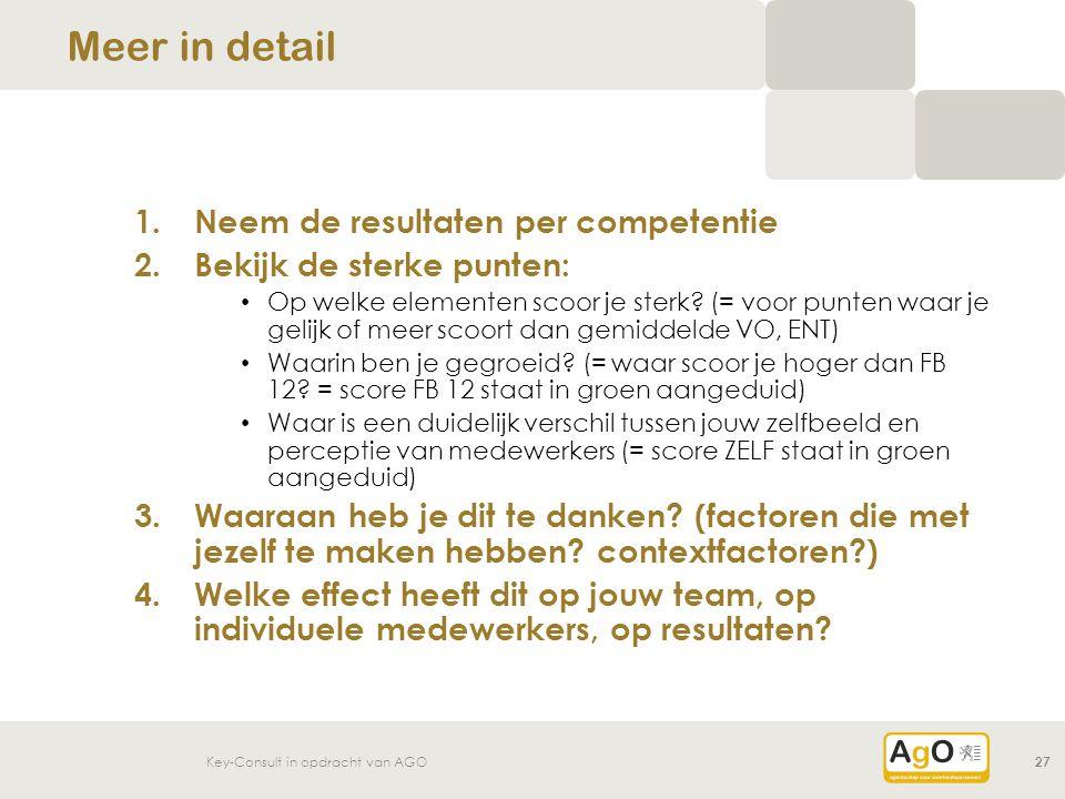 Key-Consult in opdracht van AGO27 1.Neem de resultaten per competentie 2.Bekijk de sterke punten: Op welke elementen scoor je sterk? (= voor punten wa