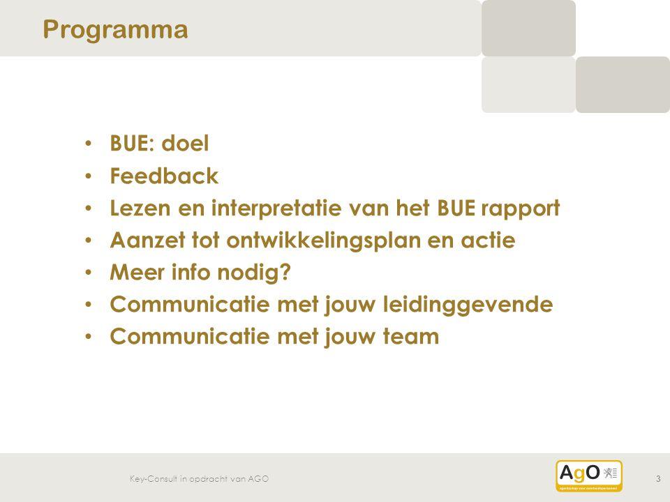 Key-Consult in opdracht van AGO3 BUE: doel Feedback Lezen en interpretatie van het BUE rapport Aanzet tot ontwikkelingsplan en actie Meer info nodig?
