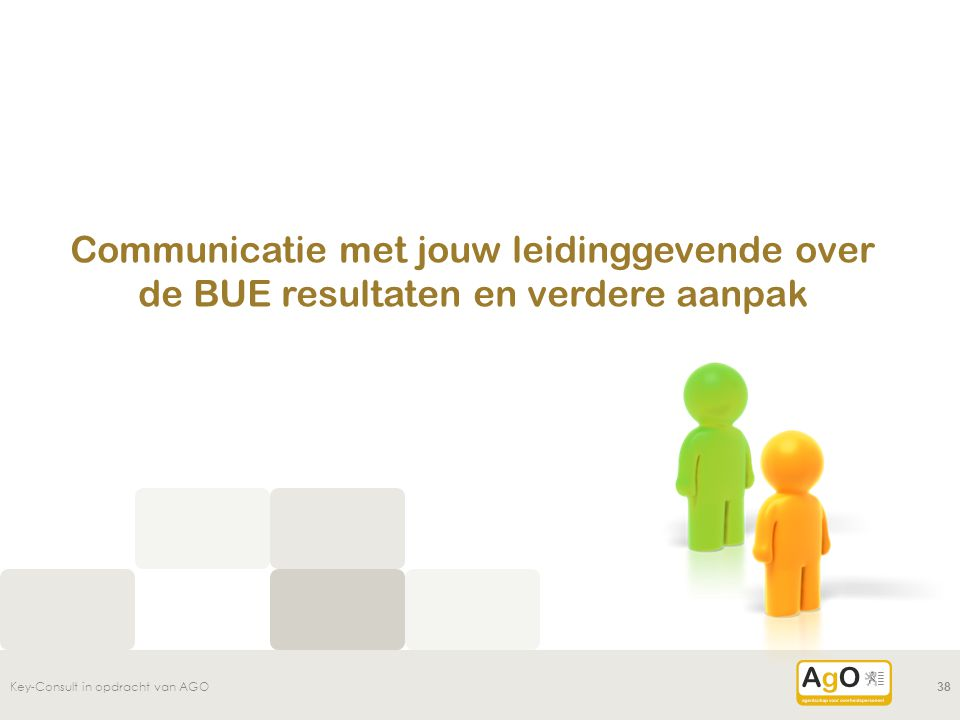 Communicatie met jouw leidinggevende over de BUE resultaten en verdere aanpak Key-Consult in opdracht van AGO38
