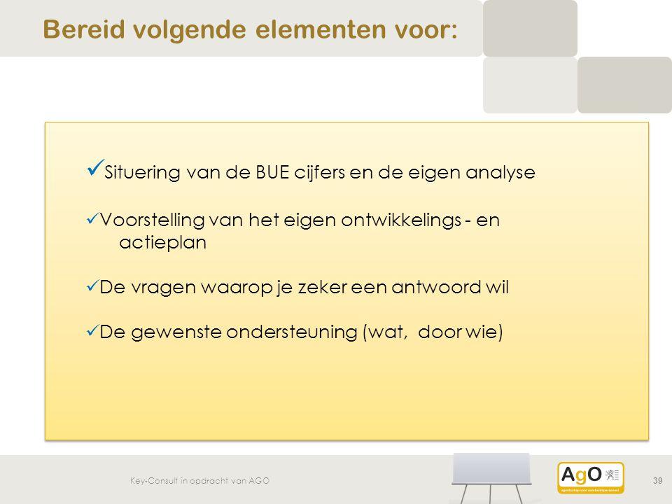Key-Consult in opdracht van AGO 39 Bereid volgende elementen voor: Situering van de BUE cijfers en de eigen analyse Voorstelling van het eigen ontwikkelings - en actieplan De vragen waarop je zeker een antwoord wil De gewenste ondersteuning (wat, door wie)