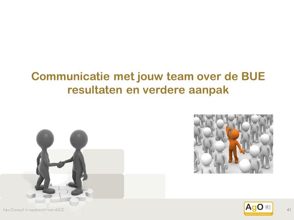 Communicatie met jouw team over de BUE resultaten en verdere aanpak Key-Consult in opdracht van AGO41