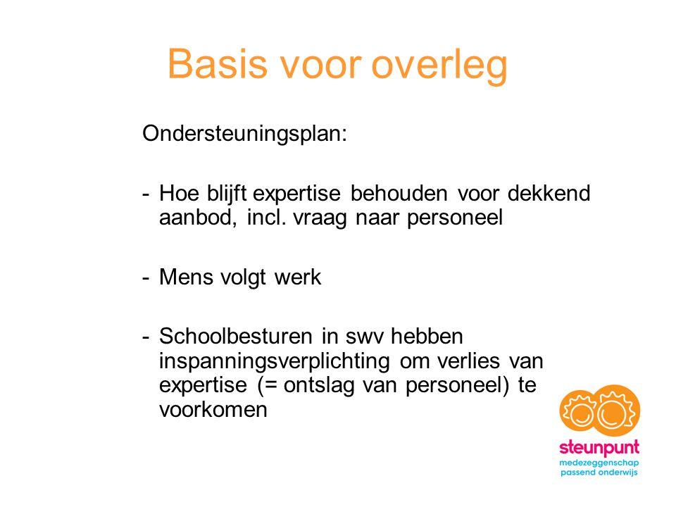 Basis voor overleg Ondersteuningsplan: -Hoe blijft expertise behouden voor dekkend aanbod, incl.