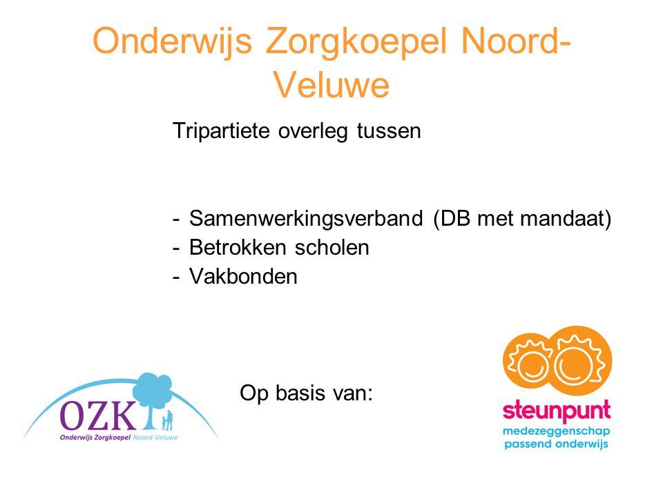 Onderwijs Zorgkoepel Noord- Veluwe Tripartiete overleg tussen -Samenwerkingsverband (DB met mandaat) -Betrokken scholen -Vakbonden Op basis van: