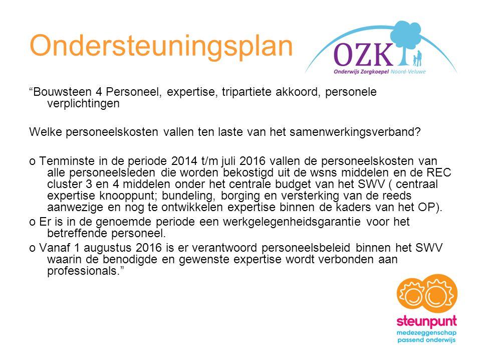 Ondersteuningsplan Bouwsteen 4 Personeel, expertise, tripartiete akkoord, personele verplichtingen Welke personeelskosten vallen ten laste van het samenwerkingsverband.