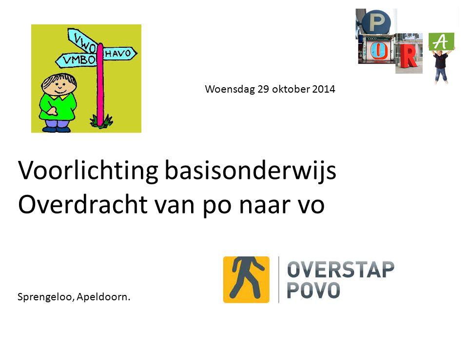 Woensdag 29 oktober 2014 Voorlichting basisonderwijs Overdracht van po naar vo Sprengeloo, Apeldoorn.