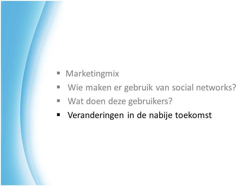  Marketingmix  Wie maken er gebruik van social networks?  Wat doen deze gebruikers?  Veranderingen in de nabije toekomst