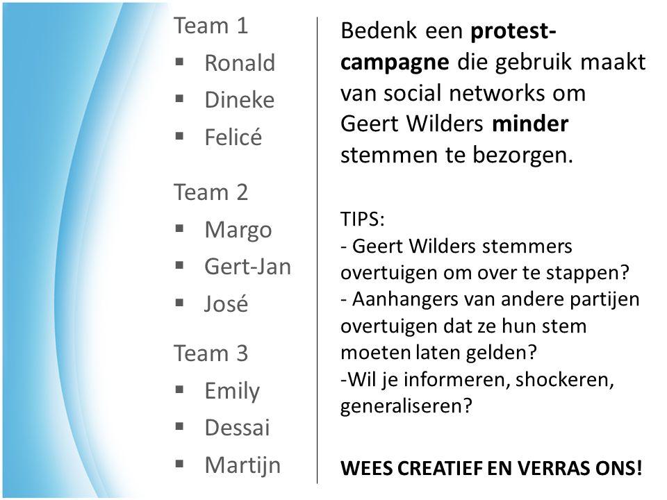 Team 3  Emily  Dessai  Martijn Team 2  Margo  Gert-Jan  José Team 1  Ronald  Dineke  Felicé Bedenk een protest- campagne die gebruik maakt va