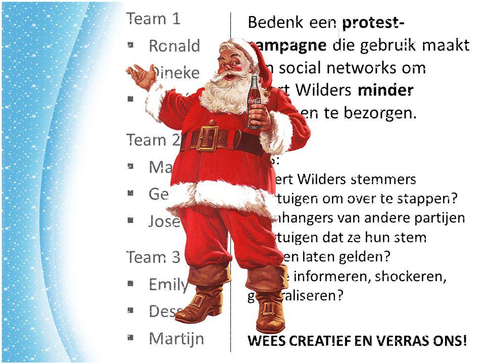 Team 3  Emily  Dessai  Martijn Team 2  Margo  Gert-Jan  José Team 1  Ronald  Dineke  Felicé Bedenk een protest- campagne die gebruik maakt van social networks om Geert Wilders minder stemmen te bezorgen.