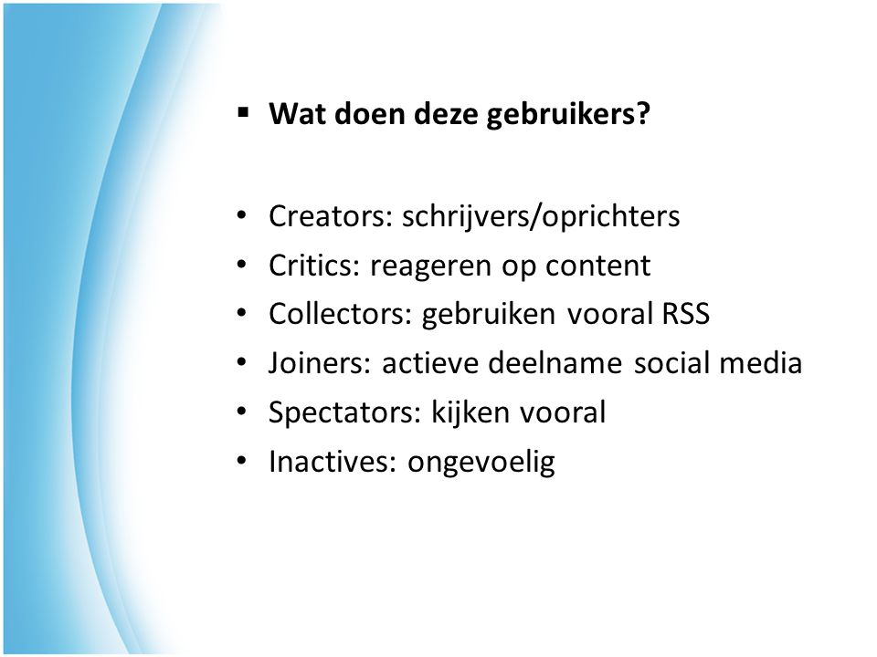  Marketingmix  Wie maken er gebruik van social networks.