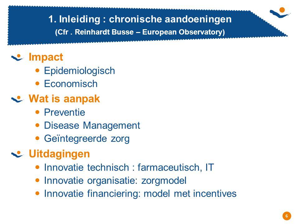 Réunion - Date 6 1. Inleiding : chronische aandoeningen (Cfr. Reinhardt Busse – European Observatory) Impact Epidemiologisch Economisch Wat is aanpak