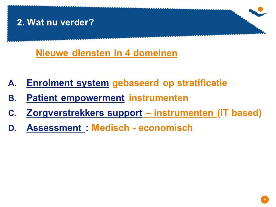 Réunion - Date 9 2. Wat nu verder? Nieuwe diensten in 4 domeinen A. Enrolment system gebaseerd op stratificatie B. Patient empowerment instrumenten C.