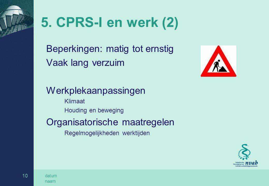 datum naam 10 5. CPRS-I en werk (2) Beperkingen: matig tot ernstig Vaak lang verzuim Werkplekaanpassingen Klimaat Houding en beweging Organisatorische