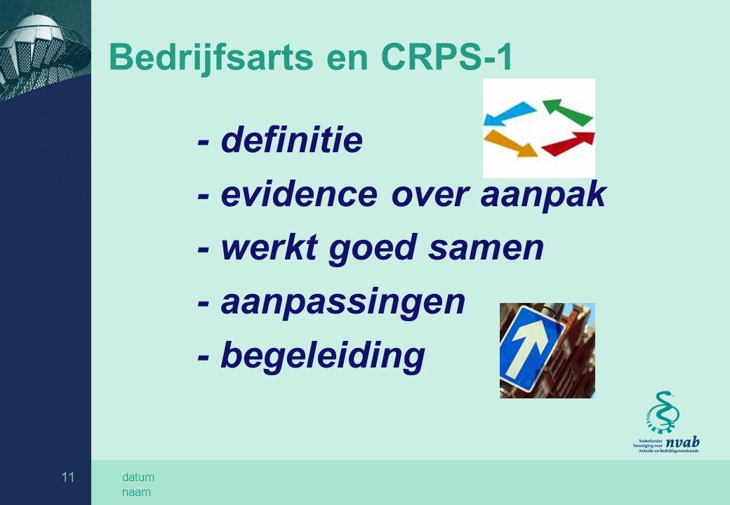 datum naam 11 Bedrijfsarts en CRPS-1 - definitie - evidence over aanpak - werkt goed samen - aanpassingen - begeleiding