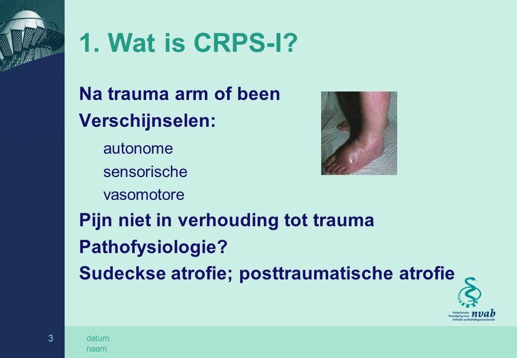 datum naam 3 1.Wat is CRPS-I.
