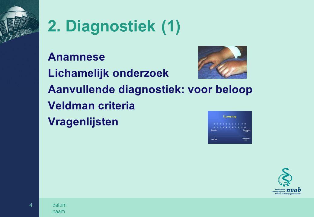datum naam 4 2. Diagnostiek (1) Anamnese Lichamelijk onderzoek Aanvullende diagnostiek: voor beloop Veldman criteria Vragenlijsten
