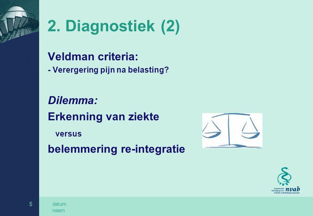datum naam 5 2. Diagnostiek (2) Veldman criteria: - Verergering pijn na belasting? Dilemma: Erkenning van ziekte versus belemmering re-integratie