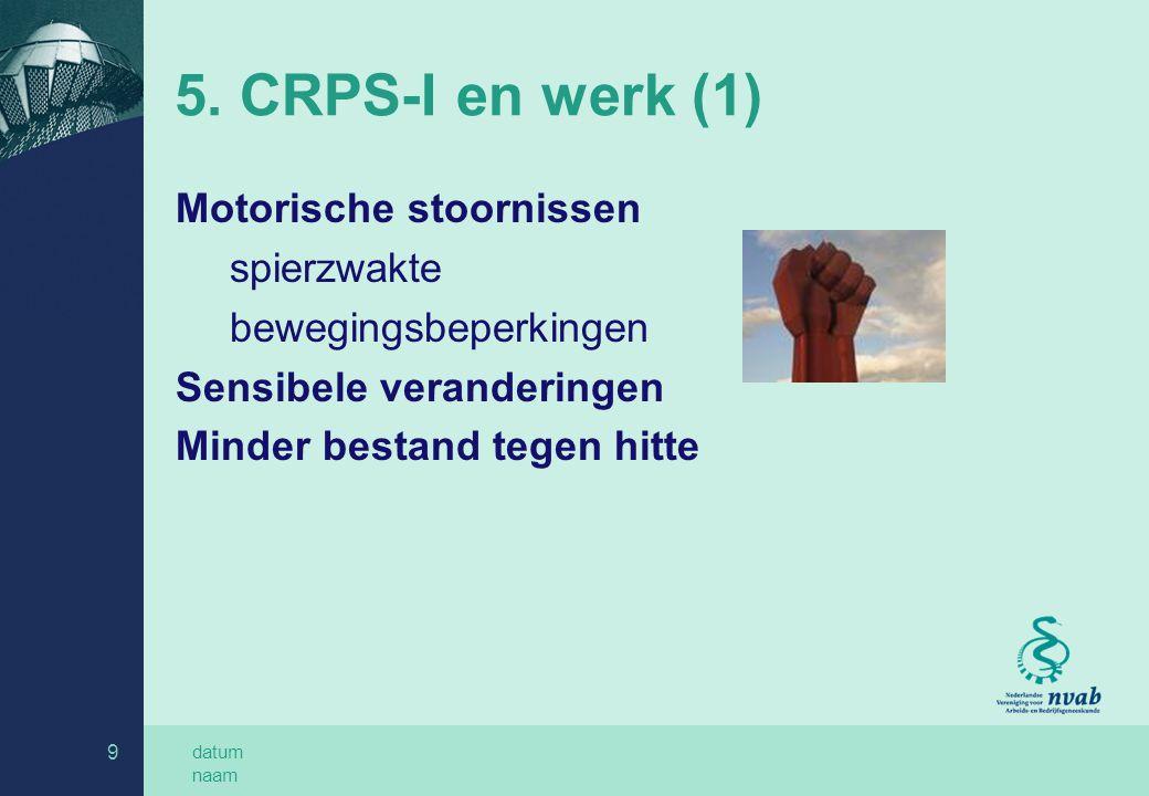 datum naam 9 5. CRPS-I en werk (1) Motorische stoornissen spierzwakte bewegingsbeperkingen Sensibele veranderingen Minder bestand tegen hitte