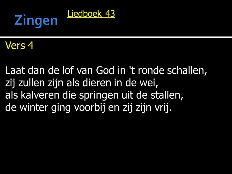 Liedboek 43 Vers 4 Laat dan de lof van God in 't ronde schallen, zij zullen zijn als dieren in de wei, als kalveren die springen uit de stallen, de wi