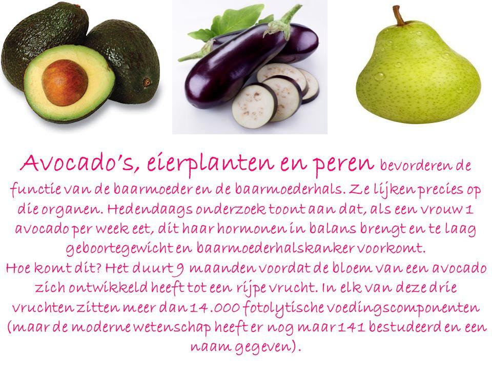 Avocado's, eierplanten en peren bevorderen de functie van de baarmoeder en de baarmoederhals.