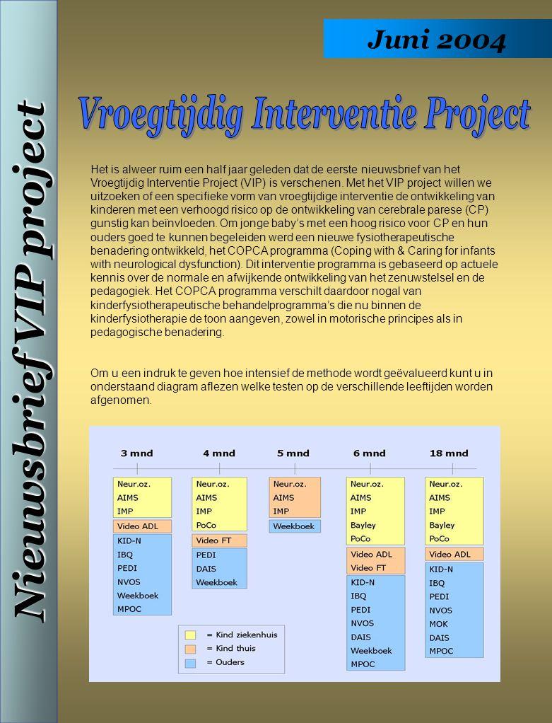 Juni 2004 Nieuwsbrief VIP project Het is alweer ruim een half jaar geleden dat de eerste nieuwsbrief van het Vroegtijdig Interventie Project (VIP) is verschenen.
