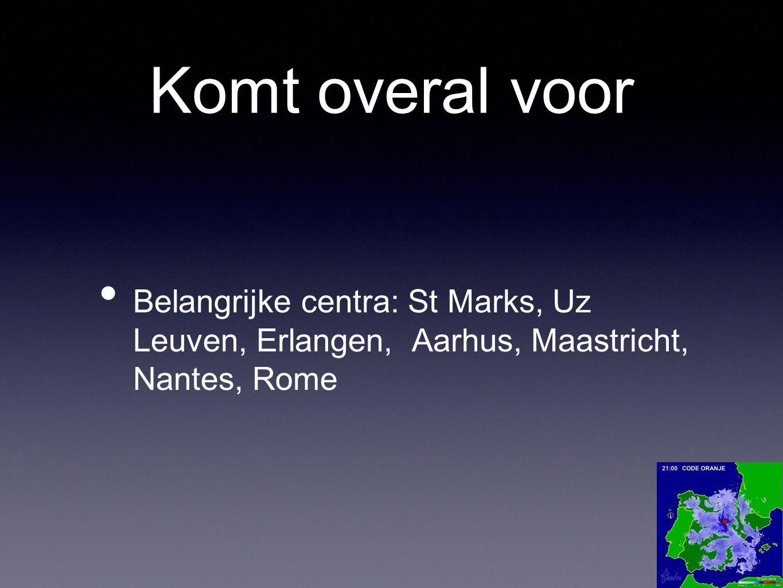 Komt overal voor Belangrijke centra: St Marks, Uz Leuven, Erlangen, Aarhus, Maastricht, Nantes, Rome