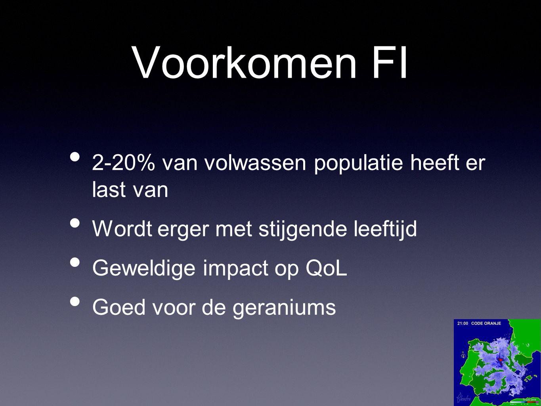 Voorkomen FI 2-20% van volwassen populatie heeft er last van Wordt erger met stijgende leeftijd Geweldige impact op QoL Goed voor de geraniums