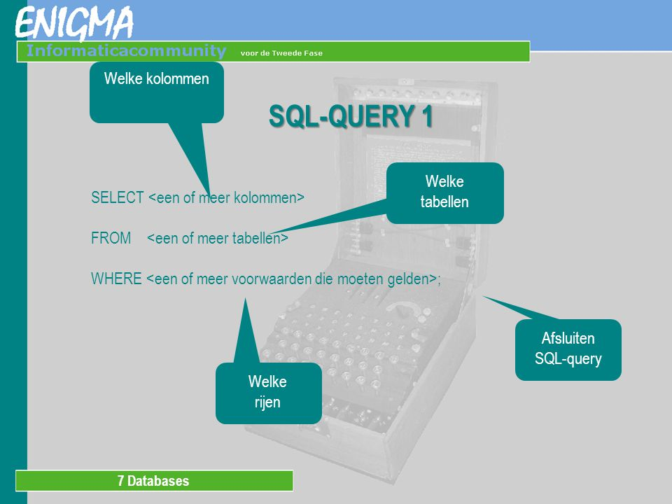 7 Databases Welke tabellen SQL-QUERY 1 SELECT FROM WHERE ; Welke kolommen Welke rijen Afsluiten SQL-query