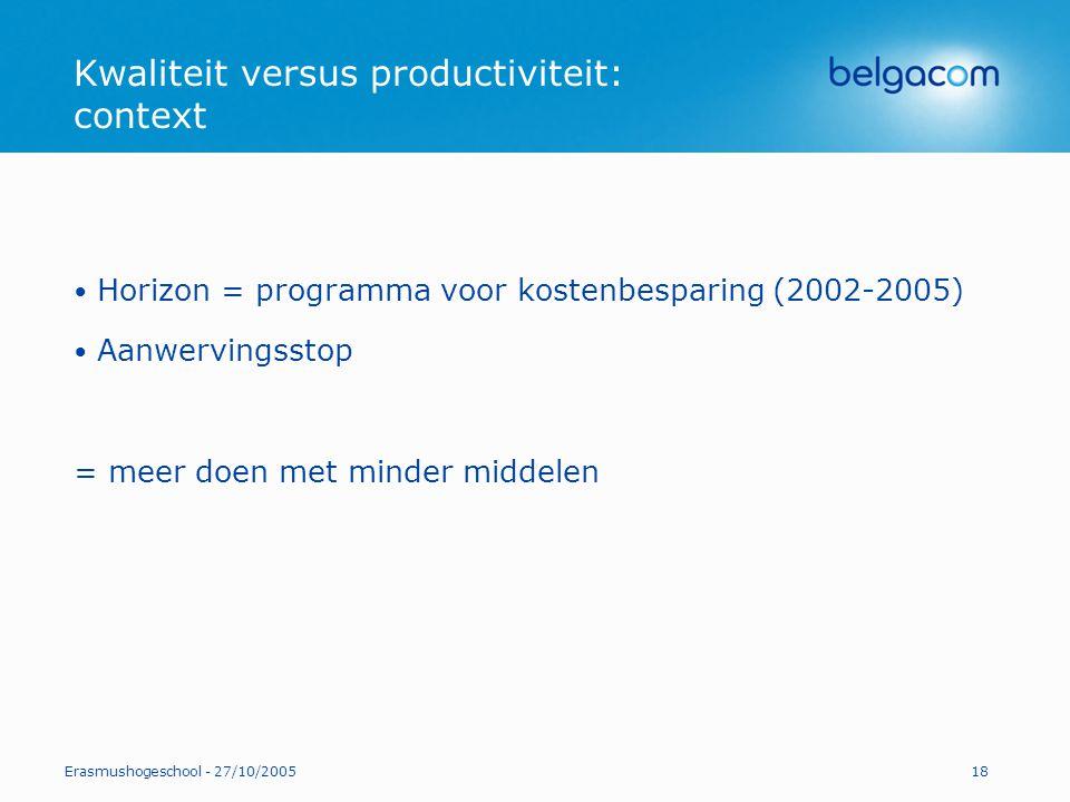 Erasmushogeschool - 27/10/200518 Kwaliteit versus productiviteit: context Horizon = programma voor kostenbesparing (2002-2005) Aanwervingsstop = meer