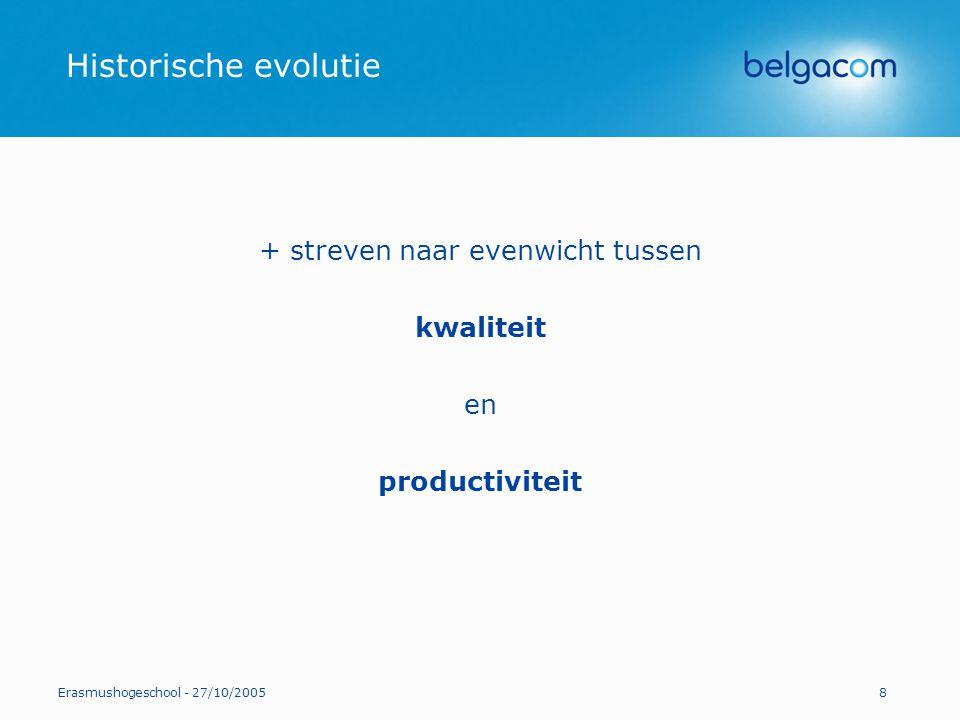 Erasmushogeschool - 27/10/20058 Historische evolutie + streven naar evenwicht tussen kwaliteit en productiviteit