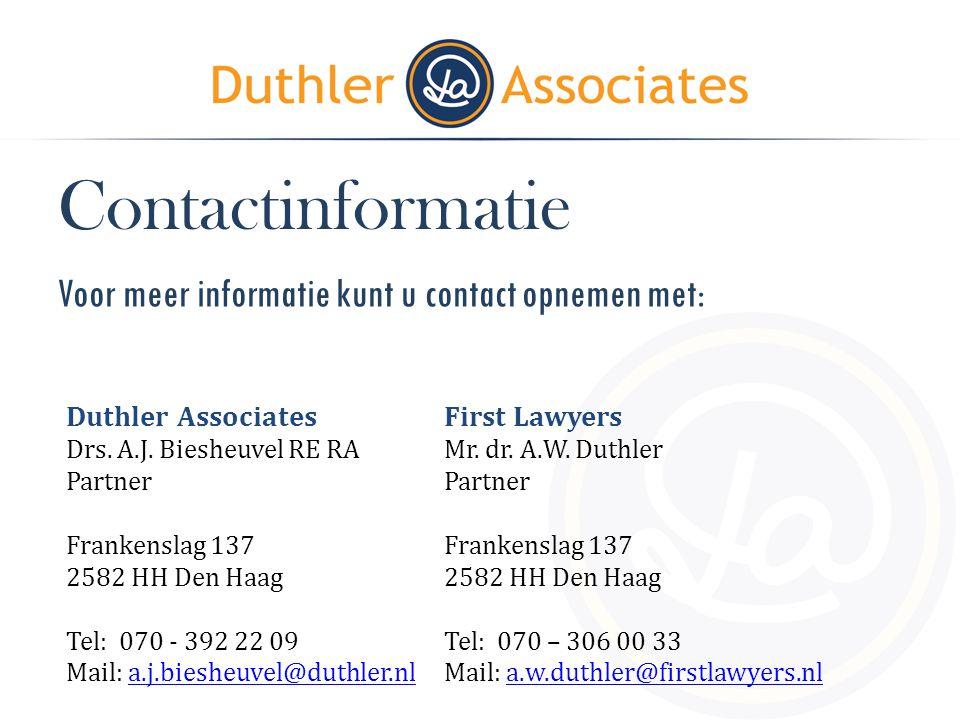 Contactinformatie Voor meer informatie kunt u contact opnemen met: Duthler Associates Drs. A.J. Biesheuvel RE RA Partner Frankenslag 137 2582 HH Den H