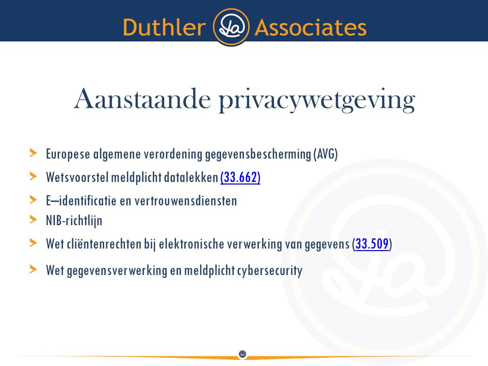 AVG > Betrokkene krijgt daadwerkelijk de regie over zijn eigen persoonsgegevens > Explicitering van bestaande normen > Accountability en auditibility > Veel nadruk op procedures, mechanismes en maatregelen > Risicogerichte benadering (PIA's) > Functionaris Gegevensbescherming (FG)PIA'sFG > Data protection life cycle, onderdeel corporate governance