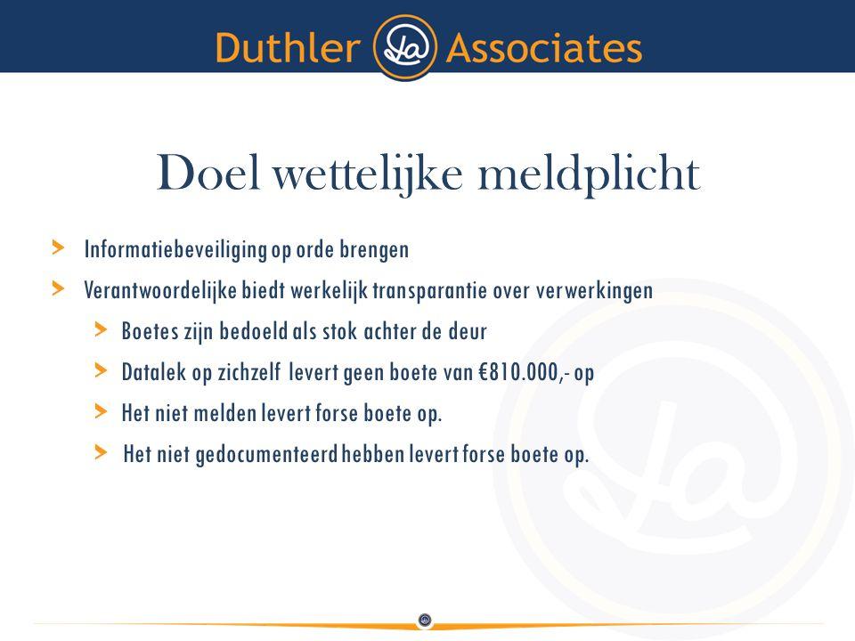 Doel wettelijke meldplicht > Informatiebeveiliging op orde brengen > Verantwoordelijke biedt werkelijk transparantie over verwerkingen > Boetes zijn b