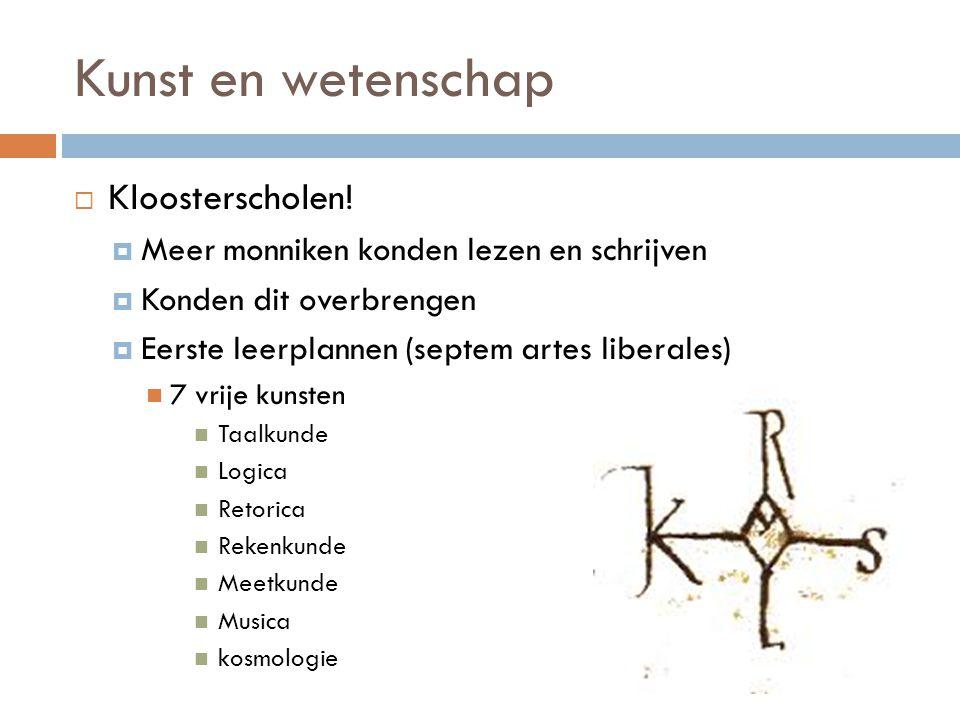 Kunst en wetenschap  Kloosterscholen.