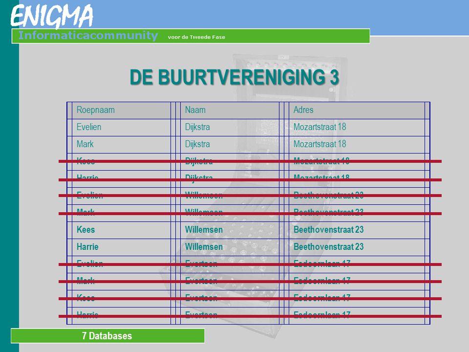 7 Databases DE BUURTVERENIGING 4 Geef roepnaam, naam en adres van de kinderen.