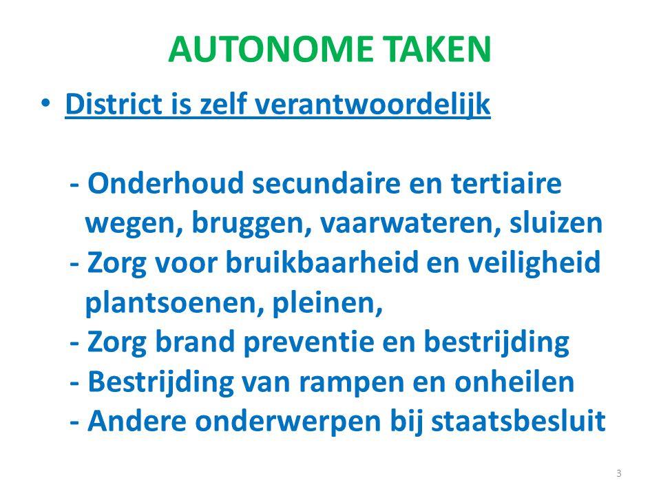 AUTONOME TAKEN District is zelf verantwoordelijk - Onderhoud secundaire en tertiaire wegen, bruggen, vaarwateren, sluizen - Zorg voor bruikbaarheid en veiligheid plantsoenen, pleinen, - Zorg brand preventie en bestrijding - Bestrijding van rampen en onheilen - Andere onderwerpen bij staatsbesluit 3