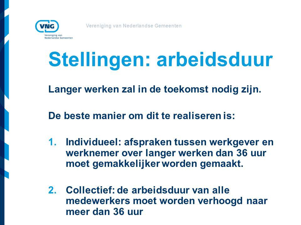 Vereniging van Nederlandse Gemeenten Stellingen: arbeidsduur Langer werken zal in de toekomst nodig zijn.