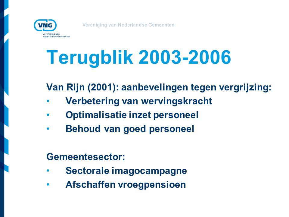 Vereniging van Nederlandse Gemeenten Terugblik 2003-2006 Van Rijn (2001): aanbevelingen tegen vergrijzing: Verbetering van wervingskracht Optimalisatie inzet personeel Behoud van goed personeel Gemeentesector: Sectorale imagocampagne Afschaffen vroegpensioen