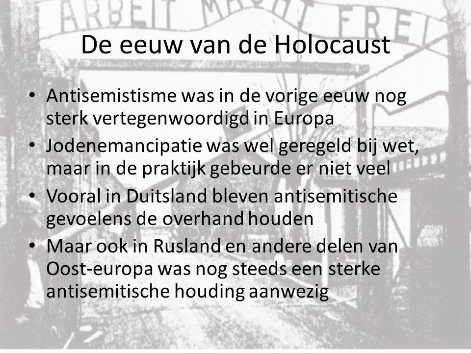 De eeuw van de Holocaust Na het eind van de eerste wereld oorlog heerste er in Duitsland een gevoel van vernedering en frustratie De vrede van Versailles had de Duitsers diep geraakt in hun eer.