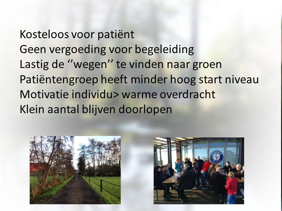 Kosteloos voor patiënt Geen vergoeding voor begeleiding Lastig de ''wegen'' te vinden naar groen Patiëntengroep heeft minder hoog start niveau Motivat